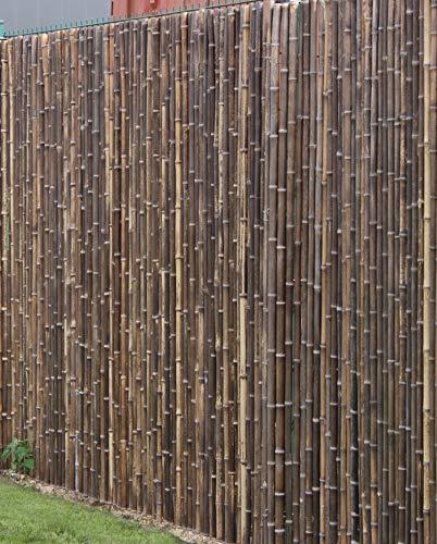 DE-COmmerce Robuster Bambus Holz Sicht Schutz Zaun ATY NIGRA hochwertiger Windschutz Terrasse, Balkon, Garten Bambusrohr Zaun mit geschlossenen Rohren (HxB) 200 cm x 180 cm