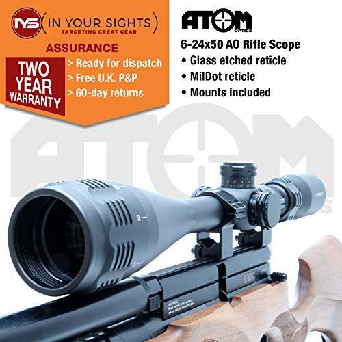 In Your Sights Zielfernrohr 6-24x50 AOEG Mil Dot Entfernungsmesser mit Montage und Schutzkappe für Jagd Softair und Armbrust, Luftgewehr.