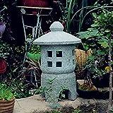 FF&XX Outdoor Garden Sculpture,Stone Lantern Decorative Statue,Indoor Outdoor Statue Decor,Antique Japanese Lawn Lamp,Yard Art Decoration D 30x30x50cm(12x12x20inch)
