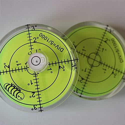 2 x Dosenlibelle - Große Acryl-Wasserwaage mit Luftblase in grüner Flüssigkeit, 60 mm Durchmesser, Gradzahlen – Acrylgehäuse, Boden-Wasserwaage, Bullseye, rund + 15mm Durchmesser