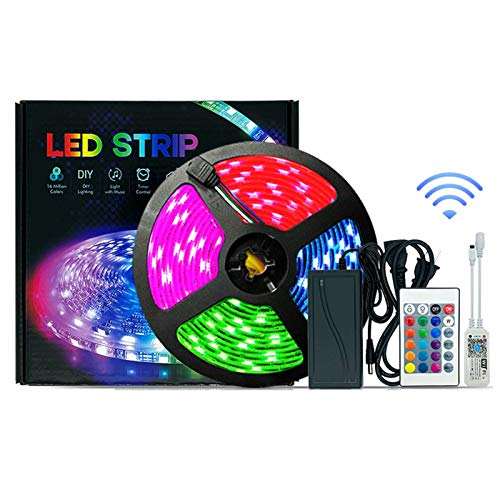 Luces De Tiras Led , Tiras Led Rgb 5050 12v App, Luces De Tira Led Control Musical Para DecoracióN 5m / 16.4feet 150 Luces No Impermeabilizadas Control Wifi