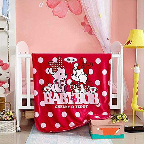 utong Couverture Cloud pour Enfants Double Face 100% Polyester Fluffy Soft Cozy Respirant Cartoon Figures Baby BOB Red