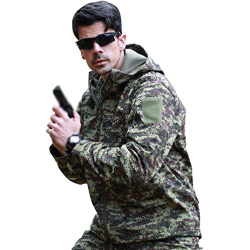 YuanDian Herren Taktisch Softshell Fleecejacke Camouflage Militär Hoodie Outdoor Wandern Camping Warm Innenfutter Winddicht Wasserdicht Mantel Jacken Skijacke Russland Tarnung XL