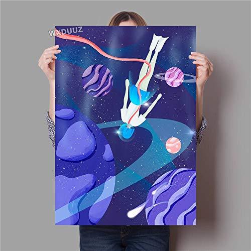 oioiu Galaxie Kunstraum Astronauten Poster Sonnensystem Weltraum Wandkunst Geburtstagsgeschenk Kinderzimmer Dekoration Poster Leinwand Malerei Rahmenlos