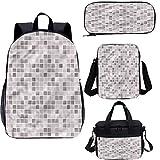 Juego de mochila para adolescentes de 43 cm, diseño clásico cuadrado Tlie bolsa escolar para trabajo, escuela, viajes, picnic