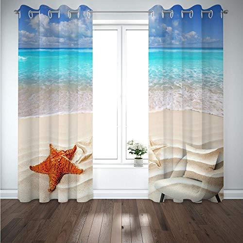MENGBB Cortina Opaca Microfibra Infantil 200x160cm Paisaje de Estrellas de mar de Playa 95% Opaca Cortina aislantes de frío y Calor Decorativa con Ojales Estilo para Salón Habitación y Dormito
