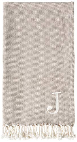 Mud Pie Woven Cotton Initial J Throw Blanket, Taupe