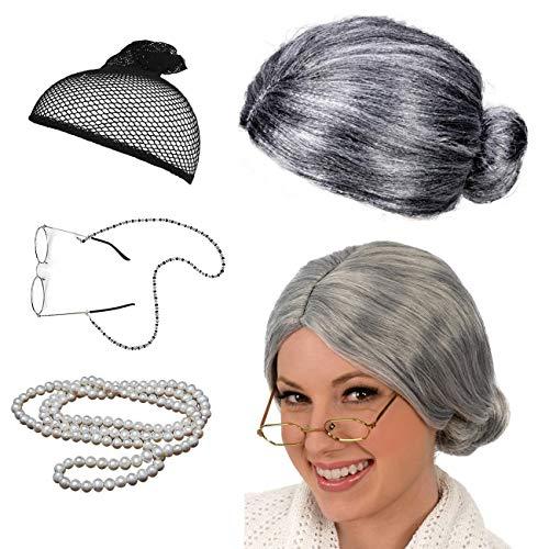 Oma Perücke mit Brille Karneval Old Lady Kostüm Großmutter Cosplay Zubehör Set Granny Grandma Grau Oma Brille Künstliche Perlenkette 035E