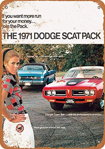 Boydf333o Tin Signs 1971 Dodge Scat Pack 2 Vintage Style Metal Poster Plaques for Funny Wall Decoration Art Sign Gifts for Christmas - 7x10