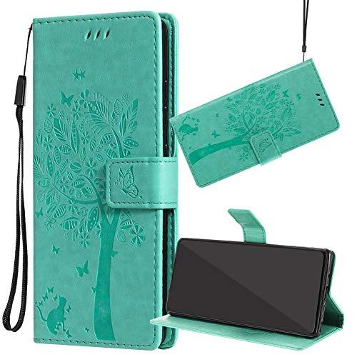 Yiizy Funda para Samsung Galaxy S21 FE, Carcasa Cuero para Galaxy S21 FE Tapa Piel Billetera Interior de Silicona TPU para Samsung S21 FE, con Soporte y Ranuras para Tarjetas (Verde)