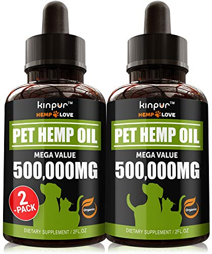 (2-Pack) Hemp Oil for Dogs and Cats - Calming Aid for Stress, Separation, Anxiety Relief with Omega 3, 6, 9 - Hip and Joint Health, Immunity