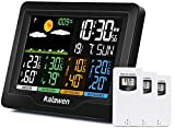 Kalawen Weather Station with 3 Outdoor Sensors, MSF Wireless Digital Alarm Clock, Barometer, Temperature, Humidity Monitor, Weather Forecast for Home Garden