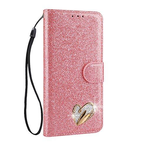 Mo-Somnus Funda de piel sintética con tapa para Samsung S series (función atril, incluye protector de pantalla de cristal templado), diseño de corazón con brillantes Galaxy S7 Edge rosa
