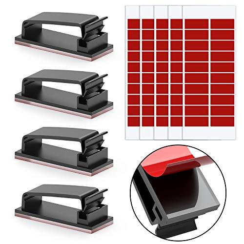 Clips de Câble Durable, Jirvyuk 100 pcs Clips Cable Adhesif Cable Management PC Kit pour TV/Chargeur/Voiture/PC/Bureau/Maison