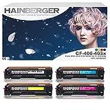 Hainberger - Juego de 4 tóneres para HP Color Laserjet Pro M252dw Pro 200 M252n (2.800 páginas, 2.300 páginas), color negro