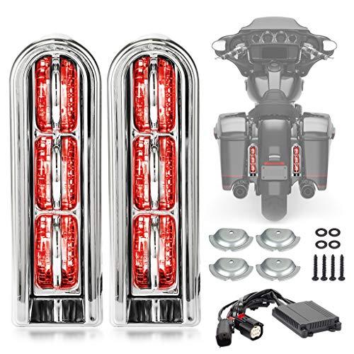 Motorcycle Rear Saddlebag Accent LED Light Insert Filler Support For Harley Touring FLHTCU/L Electra Glide FLHT/L Road Glide FLTRUSE CVO FLHR Road King 2014-2020 (Chrome Smoke)