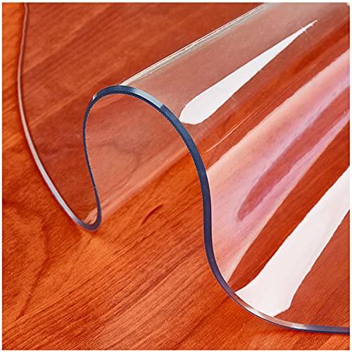 Manteles Redondo Transparentes, 1.5Mm Protector De Cubierta De Mesa Transparente Impermeable,Tapete De Mesa Anti-Calor, para Computadora De Oficina, Escritorio, Sofá,160cm/63.0in