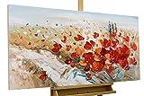 Kunstloft® Cuadro acrílico 'Flores apasionadas' 120x60cm   Original Pintura XXL Pintado a Mano en Lienzo   Flores Apasionado decoración Rojo   Mural acrílico de Arte Moderno en una Pieza con Marco