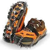 FHKBK Poignées de Neige glacée, Crampons de Traction Sur Glace de Neige Crampons pour Chaussures Avec 19 pointes en Acier inoxydable Couvre-Chaussures antidérapant Chaîne de Neige Crampo