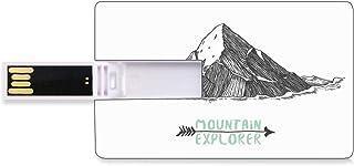 128G Unidades flash USB flash Explorar Forma de tarjeta de crédito bancaria Clave comercial U Disco de almacenamiento Memory Stick Bosqueje el estilo de una montaña con una flecha que explora una ilus