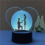 Amour 3D Diapositive Visuelle Transparent Acrylique Veilleuse Led Lumière 7 Changement de Couleur Tactile Lampe de Table Enfants Cadeau Lava Lampe-A7