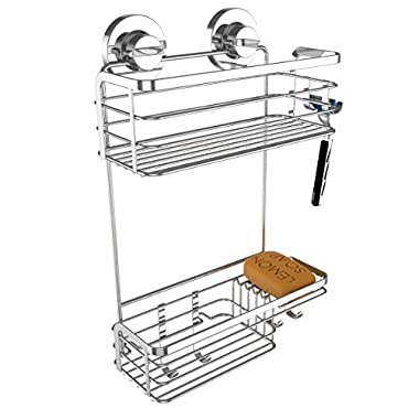 Vidan Home Solutions Shower Caddy | Strong Suction Cup Bathroom Shower Caddies – Wall Mounted - Rustproof, Stainless Steel, Shelf Storage Organizer for Shampoo – Conditioner – Soap – Loofah - Razor
