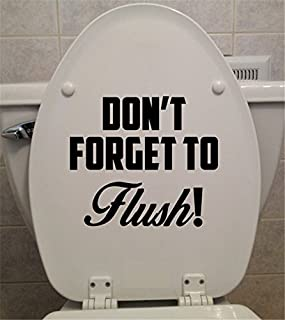 YINGKAI Funny Bathroom Toilet Decal Don't Forget to Flush Toilet Seat Decal Vinyl Carving Decal Sticker for Toilet Decoration