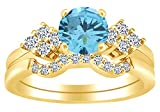 AFFY Round Shaped Simulated Aquamarine & Cubic Zirconia Solitaire Bridal Ring Set in 14k Yellow Gold Over Sterling Silver Ring Size - 10
