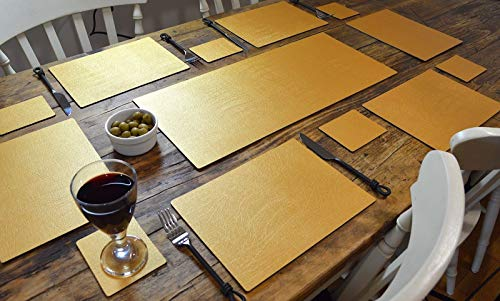 Artisan Gold Leather Complete eettafel Setting,1 Runner, 6 Placemats, 6 Coasters, Made In The UK