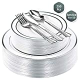 Fancy Party Disposable Plastic Plates - with Cutlery set 250 Piece Combo| 50x 10.25' + 50x 7.5' Real China Silver Rim Plates +50 Spoons +50 Forks +50 Knives Silverware | Premium Heavy Duty By Lendra