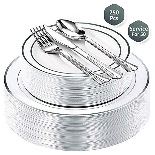 Fancy Party Disposable Plastic Plates - With Cutlery - 250 Piece Combo Set| 50x 10.25' + 50x 7.5' Real China Silver Rim Plates +50 Spoons +50 Forks +50 Knives Silverware | Premium Heavy Duty By Lendra