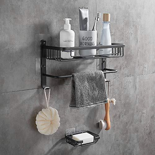 Gricol Duschregal ohne Bohren Quadratisches Selbstklebendes Regal mit Seifenschale für Dusche und Küche mit 2 Rostfreien Aluminiumhaken Schwarz