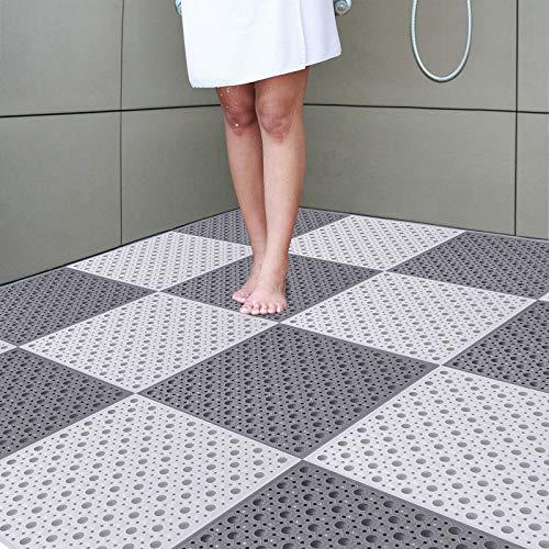 ZILINGO Duschmatte rutschfest 4 Stück 30 * 30cm, Nähte Duschmatte rutschfest Antibakteriell Antirutschmatte Dusche, Duschwanneneinlage rutschfest mit Massage Ball für Badewanne (Weiß + Grau)