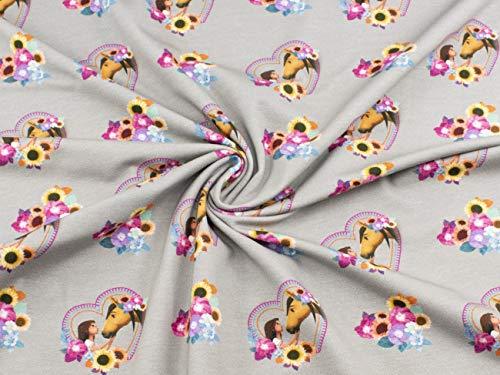 Spirit Stoff auf Baumwoll-Jersey im Digitaldruck mit Lucky und Spirit im Herz mit Blumen auf grau aus 95% Baumwolle und 5% Elasthan mit 200g/m² als Stoff-Meterware ab 25 cm