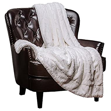 Chanasya Faux Fur Bed Throw Blanket - Super Soft Hypoallergenic Luxury Fuzzy Cozy Warm Fluffy Beautiful Color Variation Print Plush Sherpa Microfiber White Blanket (60  x 70 ) - White