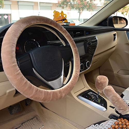 DFVVR Funda de felpa para volante de coche, suave para invierno, suministros cálidos para volante de coche.