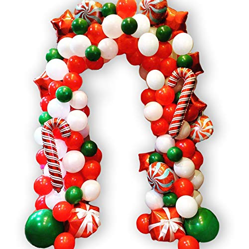WECEPAR Christmas Balloon Garland Arch kit 170 Pieces with Christmas Green Red White Candy Balloons Gift Box Balloons Red Star Balloons for Christmas Party Decorations