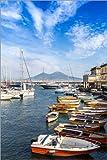 Poster 20 x 30 cm: Hafen von Neapel und der Vesuv von
