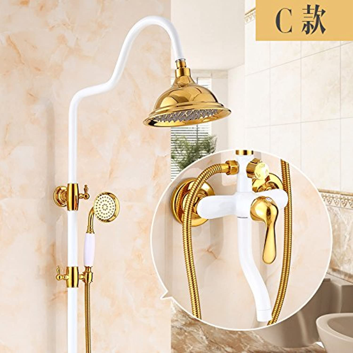 Bijjaladeva Antique Bathroom Sink Vessel Faucet Basin Mixer Tap The brass body golden showers set retro shower faucet white antique shower C