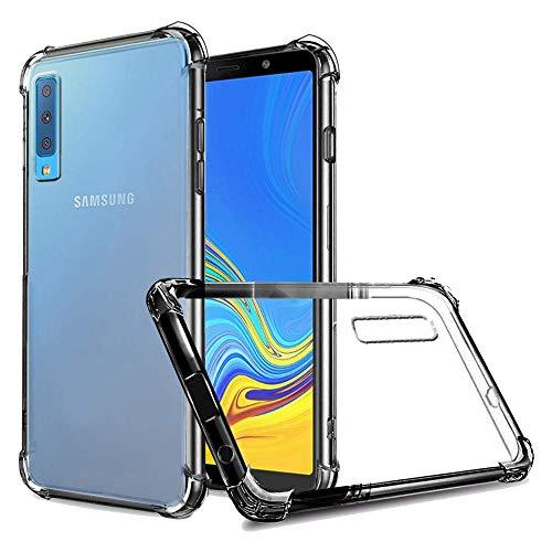 REY - Funda Anti-Shock Gel Transparente para Samsung Galaxy A7 2018, Ultra Fina 0,33mm, Esquinas Reforzadas, Silicona TPU de Alta Resistencia y Flexibilidad