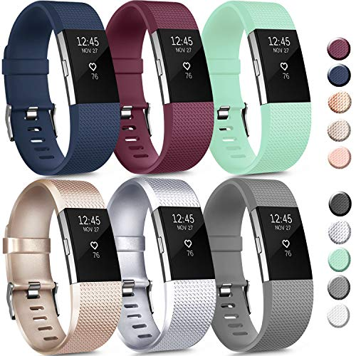 6 Pack Sport Bands Compatible with Fitbit Charge 2 Bands, Adjustable Replacement Wristbands for Women Men Small Large (6 Pack D, Small)