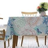 Epinki Mantel Patrón de Flores Multicolores Mantel Ropa de algodón para la Decoración de la Mesa de Comedor de Cocina Tamaño 130x130CM
