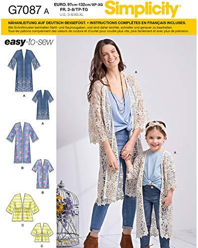 Simplicity Schnittmuster, 7087.A -Kimono selber nähen [Mädchen, Gr. 32-50] auch für Anfänger geeignet
