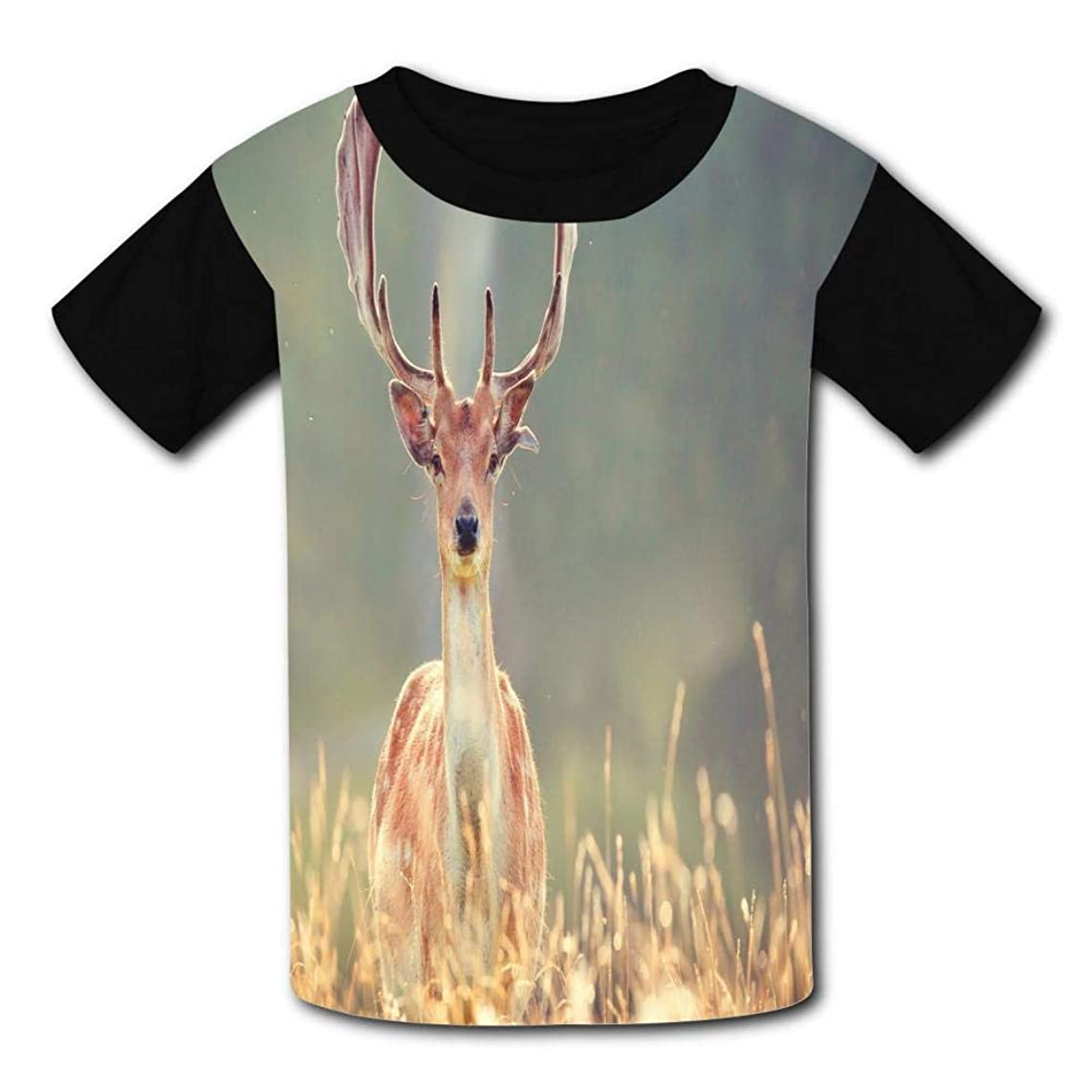 Deer In The Grass Child Short Sleeve Fashion T-Shirt Of Boys And Girls