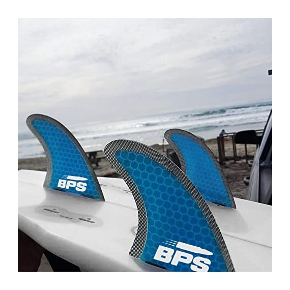 BPS Tri-Fin Set Surfboard Fins Thruster FCS Style (3 Fins), Stealth Performance Core Netted Fiberglass Surfboard Fins… 2 THE COMPANY - Helping everyone to 'get out and do' is the reason Barrel Point Surf exists. Created by a Kiwi surfer and caring Dad who loves helping others get out onto and into the water, we're a Mom & Pop business that began with us building surfboards in our garage. Now we are all about helping make water sports accessible, wherever you are in the world. Say yes to barrels, not barriers. THE PRODUCT - These BPS Tri-Fin Thruster FCS Style Surfboard Fins Set can fit any surfboard, longboard, shortboard, or funboard that uses FCS style fins. Available in medium size (similar to FCS M5's) and large size (similar to FCS M7's in size) and you can choose between two colors (Blue and Green). Rest assured that these are tested and thrashed by BPS to make sure they've got what it takes and are built to last. HERE TO HELP - If you got questions or any other concerns regarding your purchase, please let us know. Keep in mind that we're just an email away and we'll be very glad to help you out!