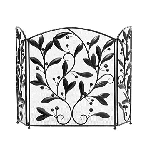 Fantastic Deal! Screen J-Fireplace 3 Panel Wrought Iron Fireplace, Baby Safe Fireplace Fence Leaf De...
