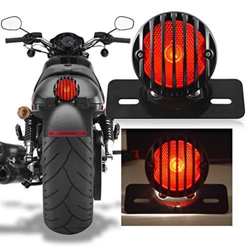 Katur Motorrad-Rücklicht für Harley Bobber Chopper Custom April IA Mana, Schwarz, 1 Stück
