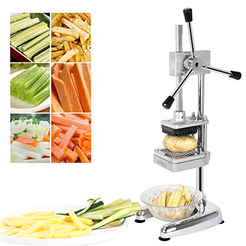 ROVSUN Upgraded Commercial Grade French Fry Cutter with Rudder Stock Lever, Vertical Fruit Vegetable Potato Slicer, Including Suction Feet,1/2-Inch,3/8-Inch,1/4-Inch Blades and Pusher Blocks