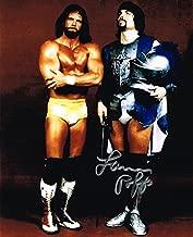 WWE WWF THE GENIUS LANNY POFFO AUTOGRAPHED 8X10 PHOTO W/ MACHO MAN RANDY SAVAGE