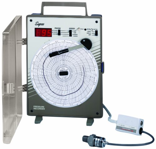 Supco CR87P Pressure Circular Chart Recorder, 0/500 psi, 6' Chart Diameter, 110-120V Voltage